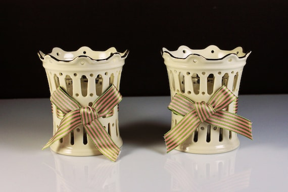 Lenox, Pierced Votive Candle Holders, Ribbon, Set of 2, Embossed, Giftware, Candles Included