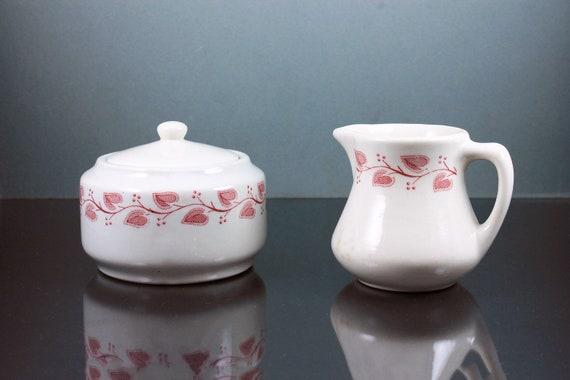 Windsor Sugar Bowl and Creamer, Buffalo China, Restaurant Ware, Pink and White, Collectible