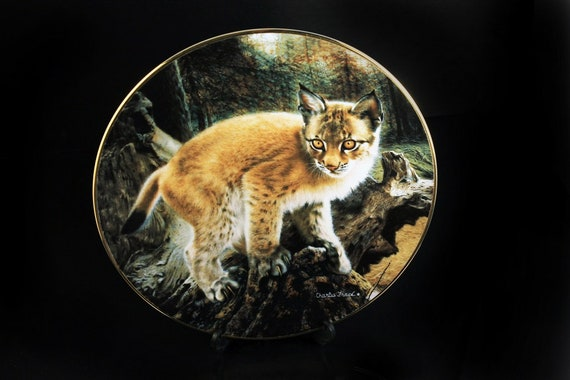 1989 Collectors Plate, Hamilton Collection, Exploring a New World, Baby Lynx Art, Wildcat Art, Limited Edition, Decorative Plate, New In Box