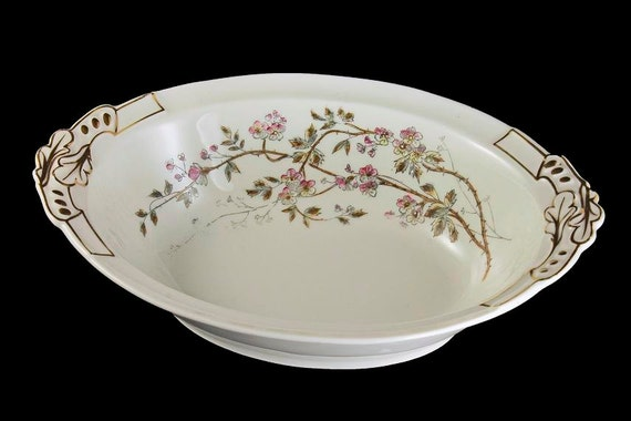 Antique Oval Vegetable Bowl, B & D Limoges, Bawo and Dotter, Hard To Find, Floral Pattern, Gold Trimmed