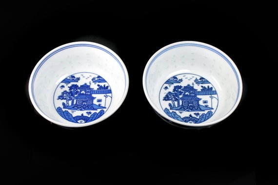 Rice Bowls, Jingdezhen, Pagoda Scene, Blue and White, Set of Two, Porcelain