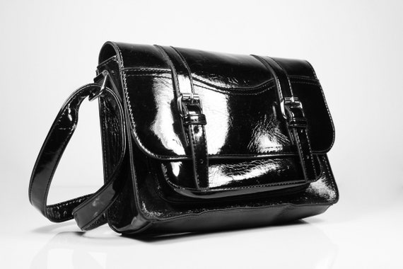 Mossimo Black Handbag, Shoulder Bag, Faux Patent Leather, 2 Open Compartments, Zippered Side Compartment, Magnetic Closure, Small Bag