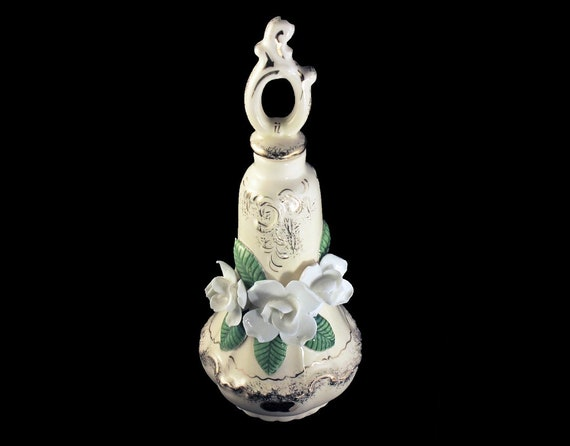 Bone China, Perfume Bottle, Vanity Bottle, Raised White Flowers, Cream and Gold, Made in Japan, Collectible