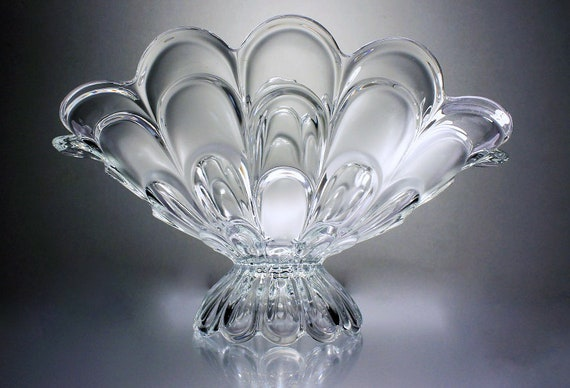 Crystal Banana Bowl, H H Union, Czech Republic, Clear Glass, Frosted Glass, Scalloped, Fruit Bowl, Centerpiece, Pedestal Bowl