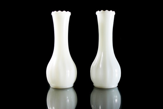 Milk Glass Paneled Vases, 6 Inch, Set of 2, Wedding Decor