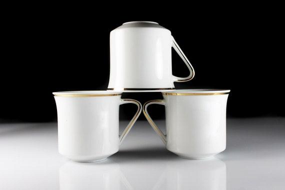 Mugs, Johann Haviland, Golden Band, Bavaria, Teacups, White and Gold, Set of 3, Fine China