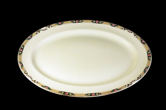 13 Inch Platter, Mount Clemens, Floral Band, Pink Rose, Fine China