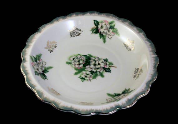 Porcelain Bowl, Arnart, Royal Crown, Floral, Green and White, Gold Trim