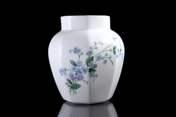 Octagon Vase, Royal Kent, Forget Me Nots, Staffordshire England, Gold Trimmed, Collectible