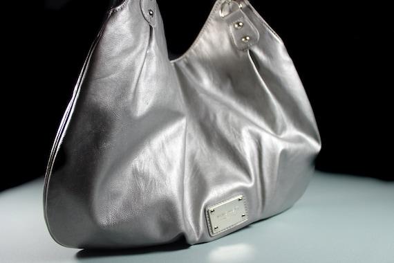 Silver Shoulder Bag, Nine West, Hobo Bag, Faux Leather,  Double Chain Handled