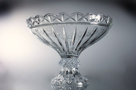 Leaded Crystal Pedestal Compote, Godinger, Olympia Pattern, Shannon Division, Clear Glass, Giftware, Hand Blown