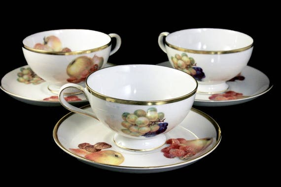Cups and Saucers, Thomas Germany, Set of 3, Number 3206 Various Fruit Pattern, Fine China, Gold Trim, Hard To Find