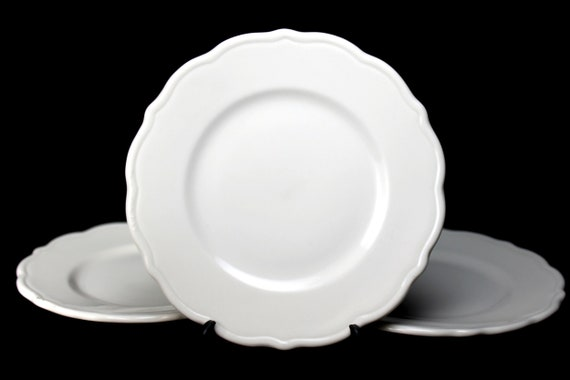 Bread and Butter Plates, Syracuse China, Essex. Restaurant Grade, Set of 3, Dinnerware, Roll Plates, Bun Plates, White