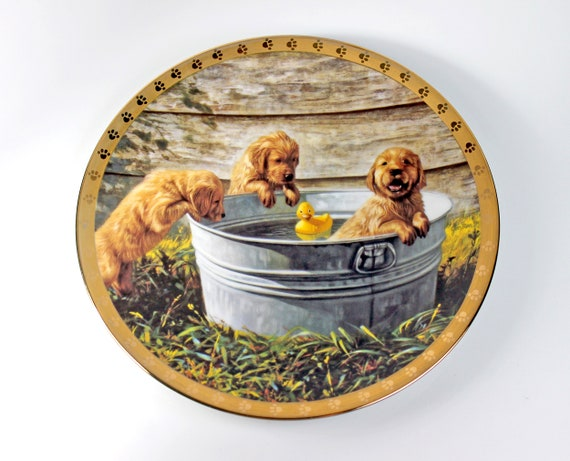 1995 Collectible Plate, Hamilton Collection, The Waters Fine, Puppy Plate, Limited Edition, Decorative Plate, Wall Decor