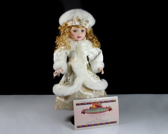 Brass Key Porcelain Doll, Victorian Collection, Collectible, 17 Inch, White Faux Fur, Display Doll, Wooden Doll Stand Included
