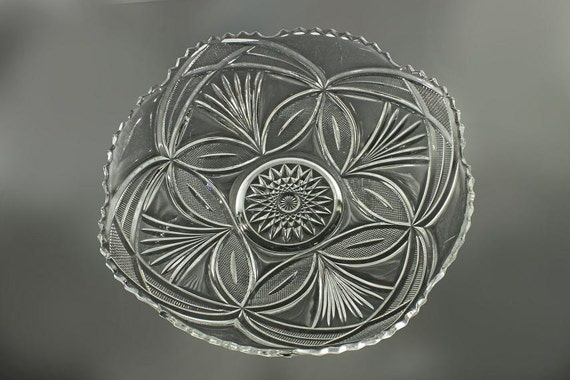 Bryce EAPG Antique Bowl, Beautiful Lady, Sawtooth Edged, Clear Glass, Pressed Glass, Fruit Bowl, Centerpiece