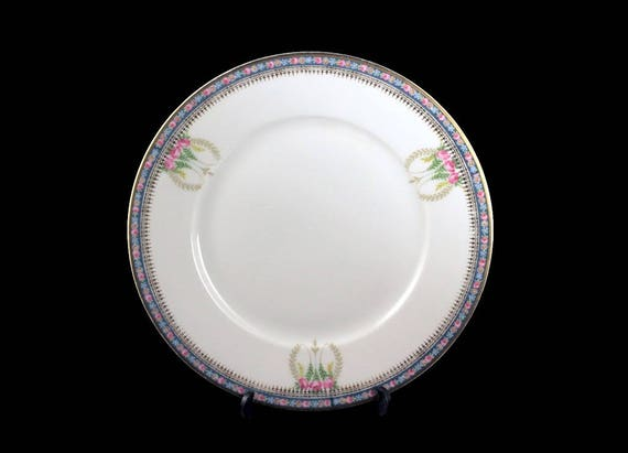 Antique Salad Plate, J H R Hutschenreuther Bavaria, Hand Painted, Pink Rose Pattern, Circa 1890s, Display Plate, Gold Trimmed