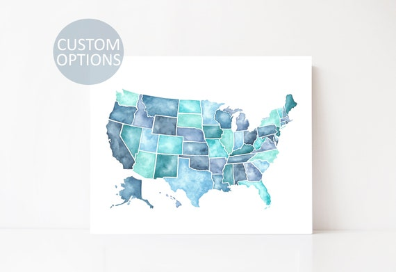 Us Map Artwork.United States Watercolor Map Print Us Map Art Travel Map Etsy