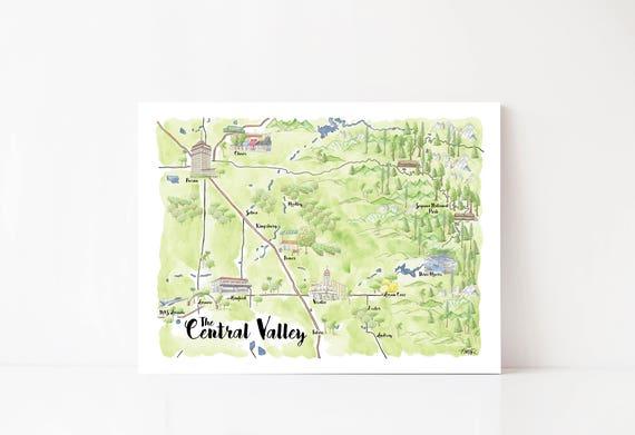 Sequoia California Map.Sequoia National Park California Map California Wall Art Etsy