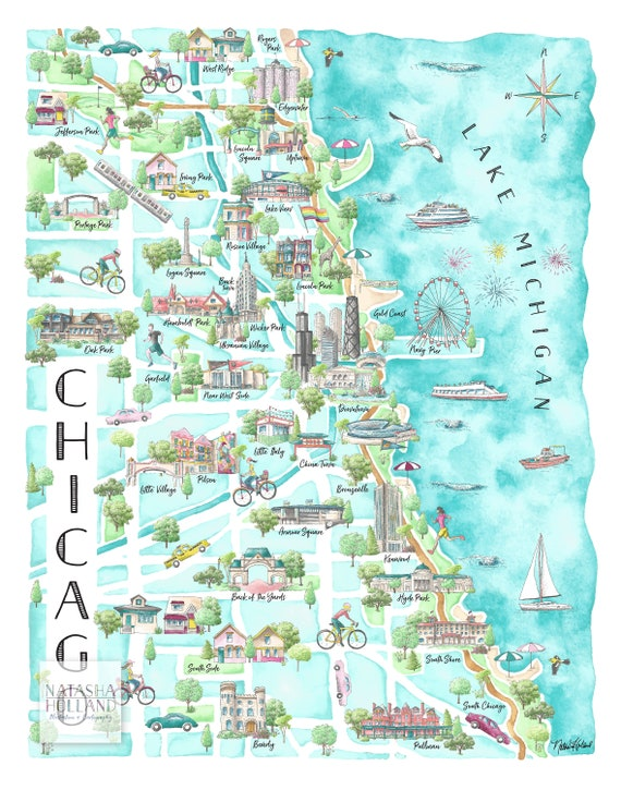 Chicago Neighborhood Map Chicago Wall Art Chicago Print Etsy