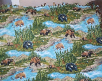 No sew woody, mountain, outdoor theme fleece blanket with different kinds of bears