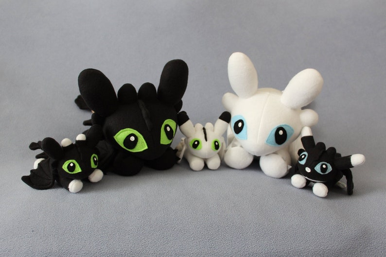 MADE TO ORDER Family Night Fury, Light Fury, and Baby Night Light Fury  Dragon Plushies (All)