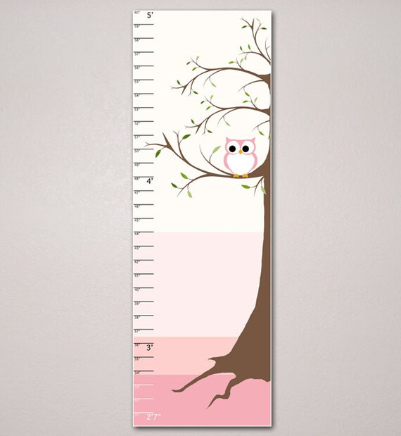 Tree And Owl Growth Chart Kids Room Childrens Art 10 X Etsy