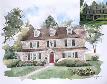Original Custom House Painting of your home painted in watercolor.