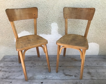 Pair Of French Bistro Chair Signed BAUMANN Vintage 70s Raw Wood