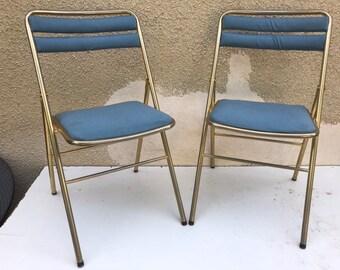 Paire De Chaises Pliantes Anciennes Mtal Dor Tissu Bleu Annes 70 Vintage