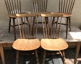 Set of 5 chairs signed BAUMANN old wood Vintage 70s