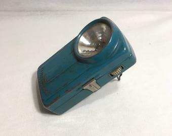 Old flashlight battery LECLANCHÉ blue green Vintage Metal battery