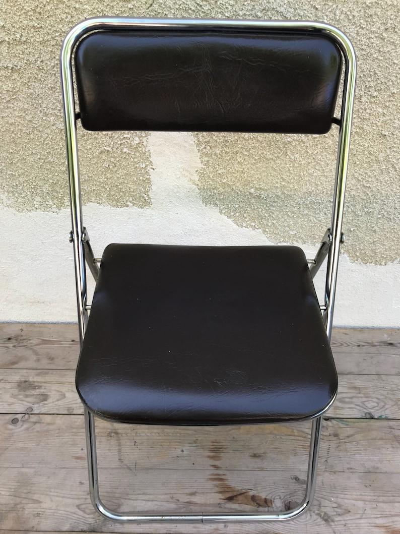 Chaise Ancienne Pliable Pliante SOUDEXVINYL Métal + Marron Années 70 Vintage