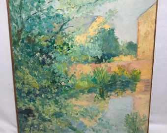 Painting oil on canvas water signed: Chenet JONAS July 1974