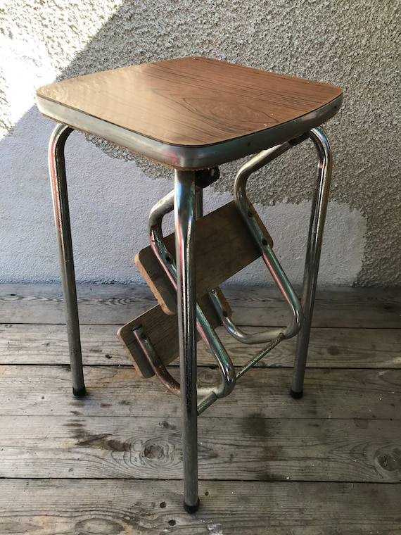 Tremendous Vintage Metal Step Ladder Stool Chrome 3 Steps 70S Brown Formica 2 Pdpeps Interior Chair Design Pdpepsorg