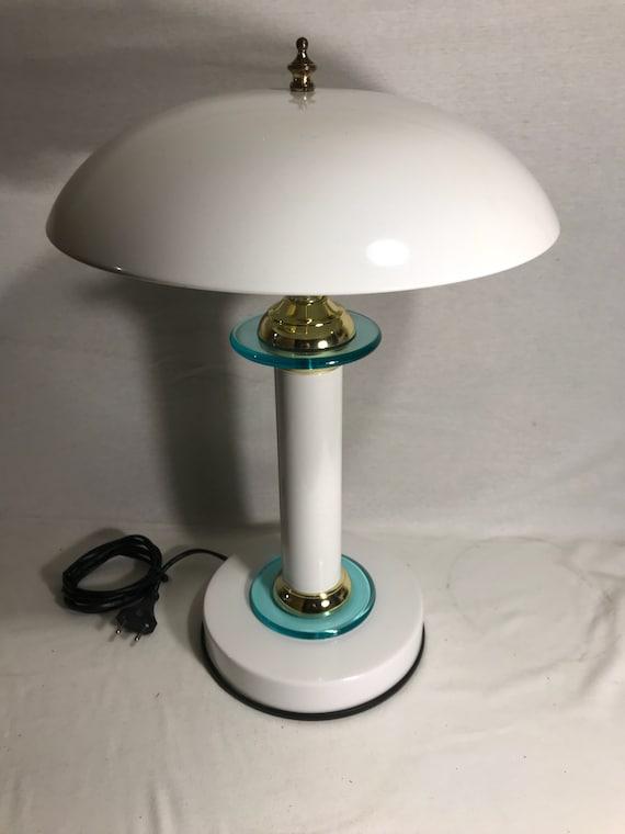 Lampe Champignon Metal Blanc Dore Verre 2 Ampoules Vintage Etsy