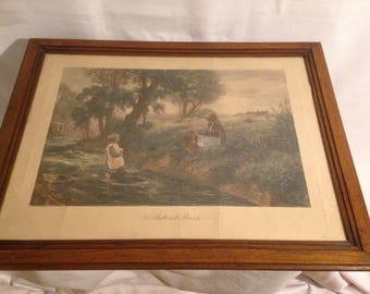"""Lithograph """"On A SHELTERED BROOK"""" English enhanced color Ernest Walbourn number 1682"""