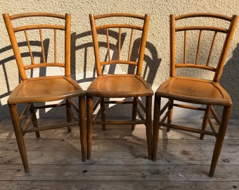 Set of 3 vintage Thonet Style Bistro chairs bentwood 70s Vintage