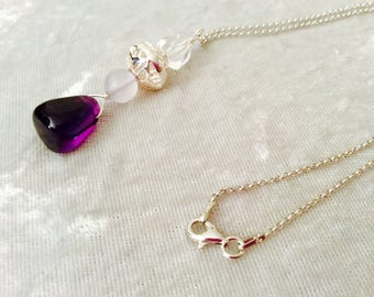 Handmade Sterling Silver, Crystal and Amethyst Necklace