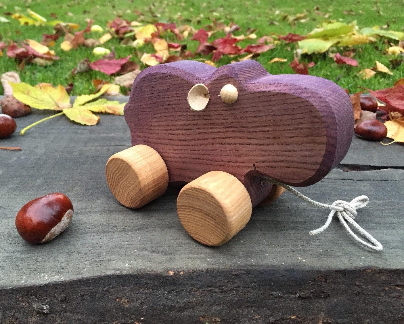 Große Holz Spielzeug Nilpferd ziehen entlang Spielzeug