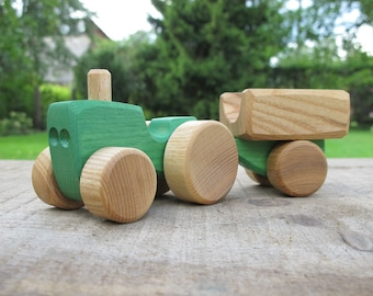 Wooden Toy Tractor, kids gift, baby gift, eco-friendly toy, personalized toy, Waldorf toy, Christmas gift