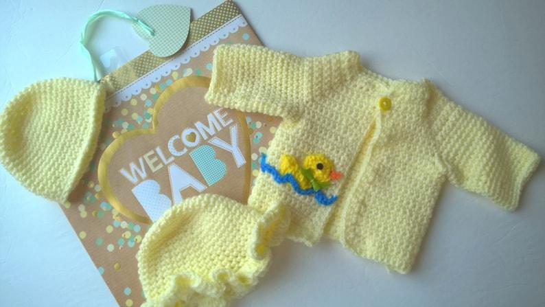 9c9ab3596 Crochet Sweater Newborn Cardigan with Duck Applique Choice