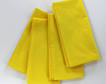 Lemon yellow napkins, cotton dinner napkin, summer style, bright yellow linens, formal dining, table napkins set, reusable, size 18x18