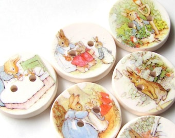 "Peter Rabbit 15mm buttons - 0.6""-  Beatrix Potter - Storybook Buttons - Tiny Kids Buttons - Rabbits - Special - Bunnies - Bunny - Handmade"