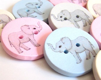 10 Novelty Cute Elephant Wooden Buttons Kids Craft Knitting Toppers Cards