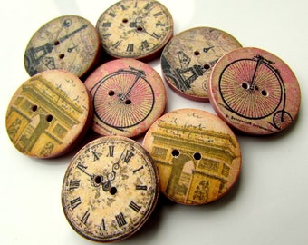 NEW BULK 100 Mixed Vintage FREE P/&P Shabby Chic Clock Design buttons 20mm