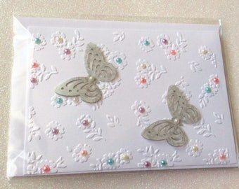 Beautiful handmade 3d butterfly card with pop up wings. Ideal for birthdays and other occasions