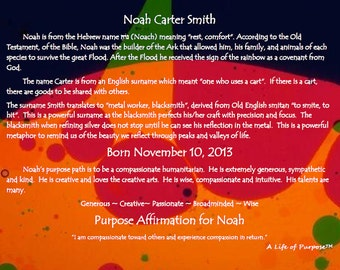 """Personalized Name Meaning/Purpose Path/Positive Affirmation Print on GLASS  w/30 GRAPHIC Background Choices! Purpose Wall Art ~21.6"""" x 28.8"""""""