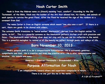 """Personalized Name Meaning/Purpose Path/Positive Affirmation Print on GLASS  w/45 CLOUD Background Choices! Purpose Wall Art ~21.6"""" x 28.8"""""""