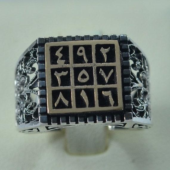 Sterling Silver Men Ring Abjad Talisman Amulet Islam Muslim With Bronze  Antique Design Size 9